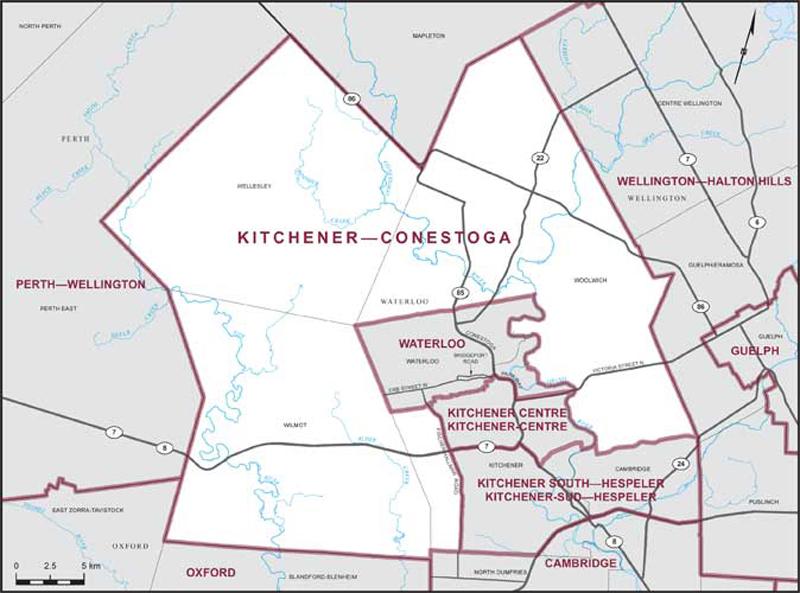 Kitchener-Conestoga riding boundary