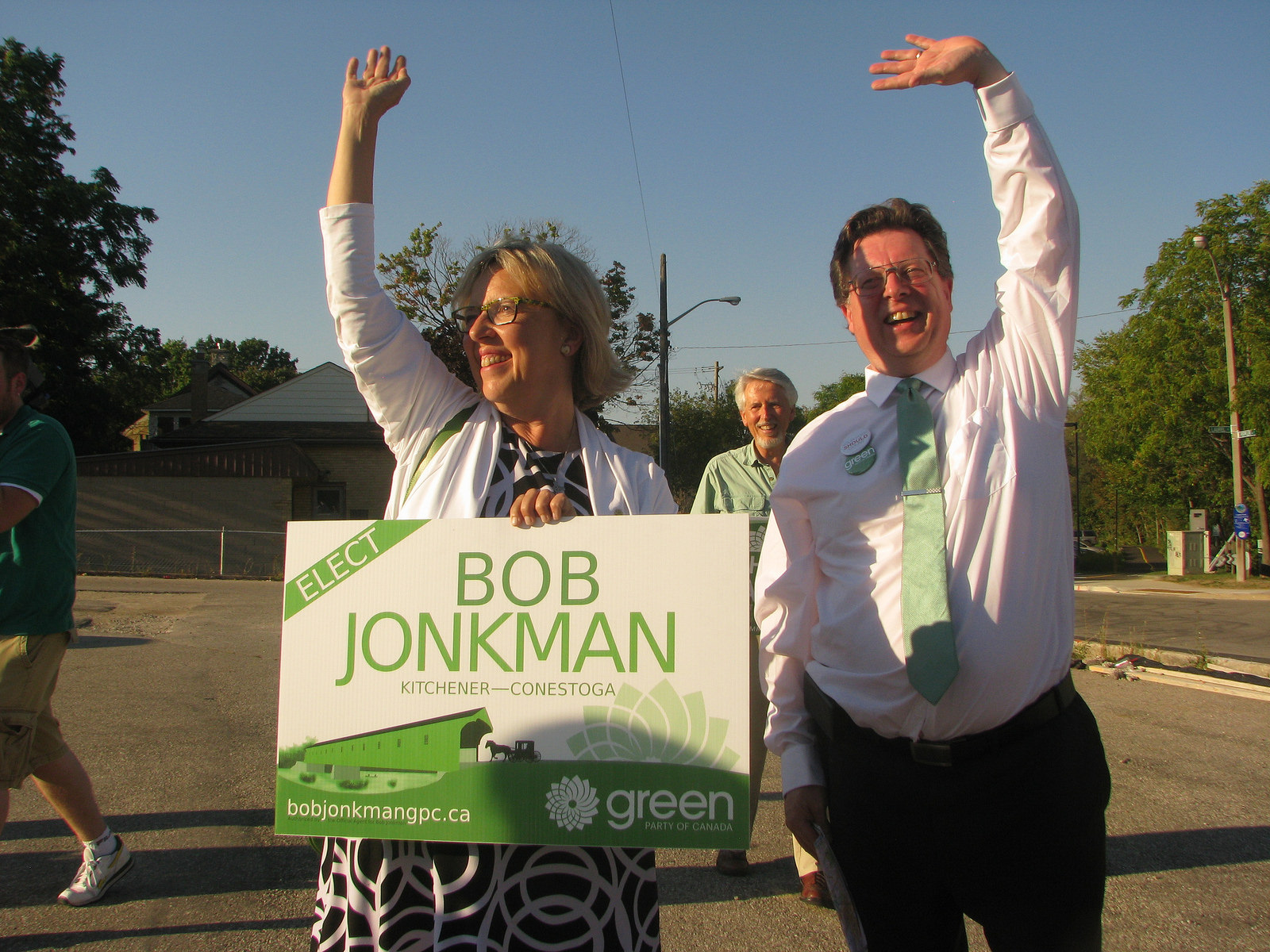 Elizabeth May joined Bob Jonkman and Richard Walsh for street side sign waving last fall