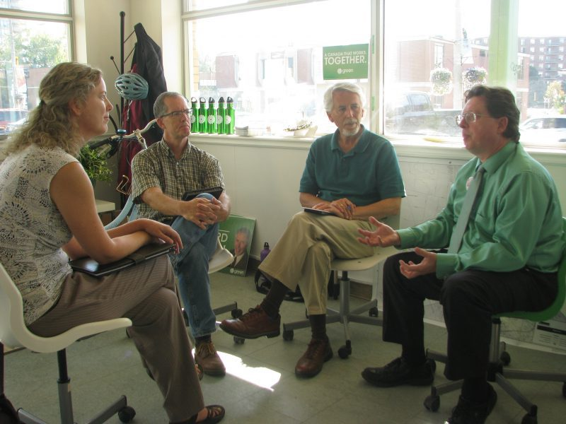 Basic Income Waterloo meets with Richard Walsh and Bob Jonkman at the Waterloo Greens Office during the 2015 election