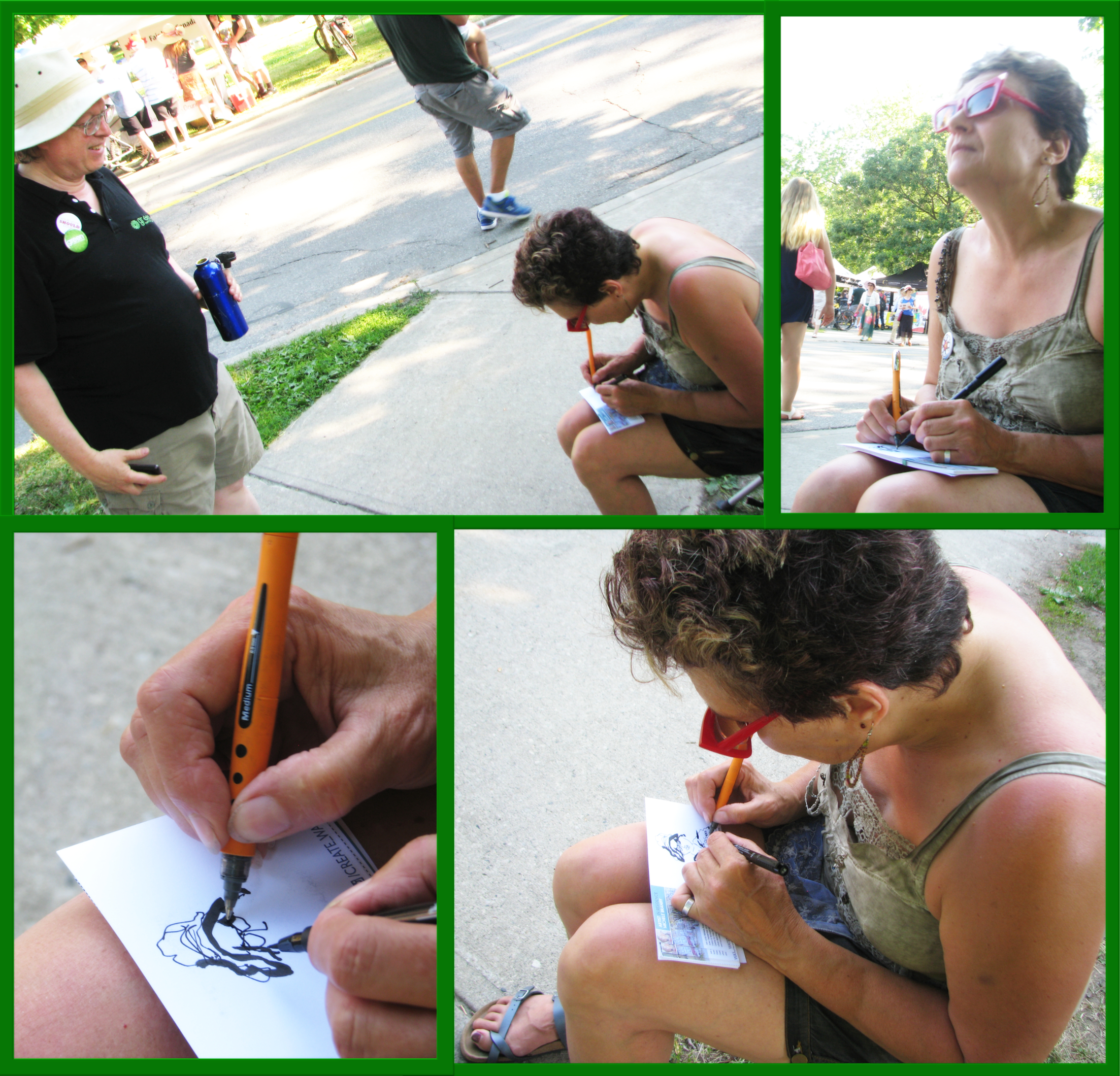 Michele Braniff sketches Bob Jonkman at the KW Multicultural Festival