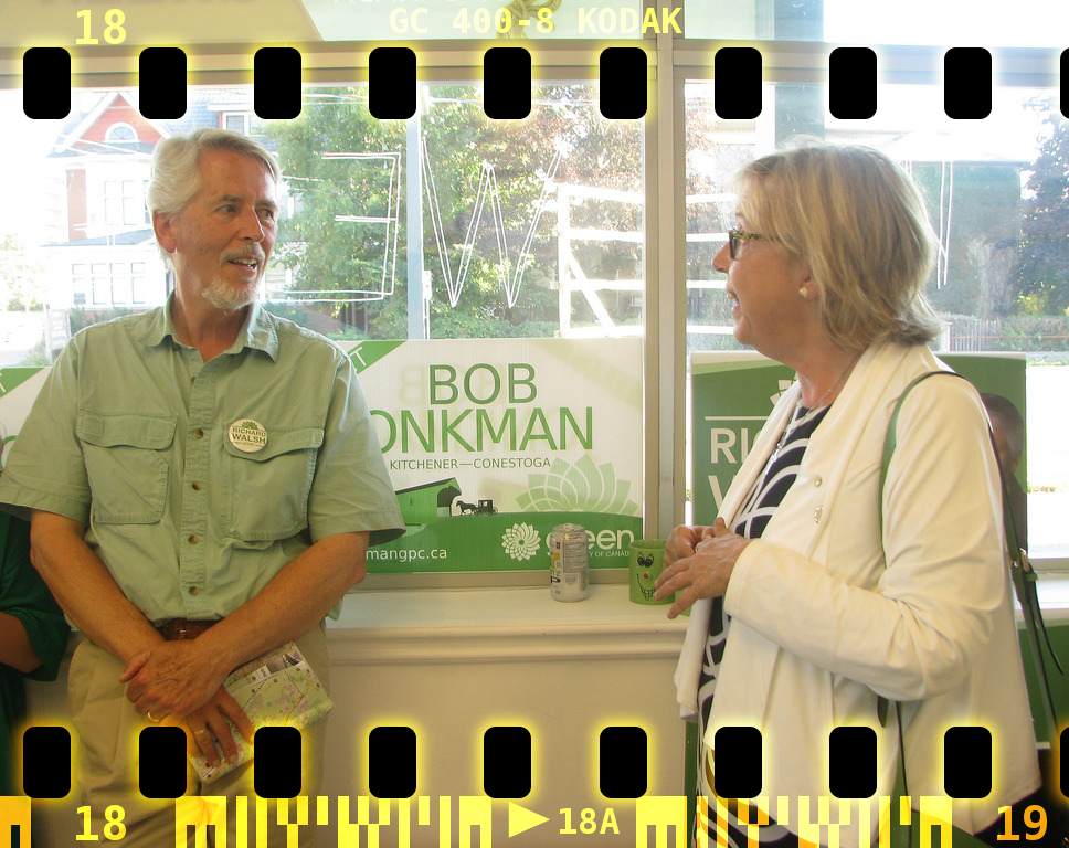 Richard Walsh entertains Elizabeth May at the Waterloo Greens campaign office in 2015