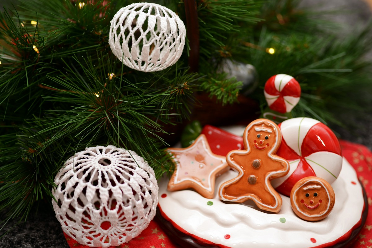 Christmas decorations, ornaments, and cookies
