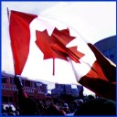 Canadian Flag waving over Rally